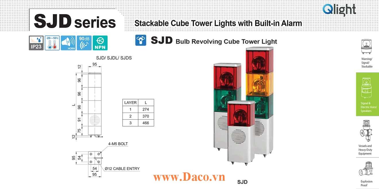 SJD-WV-3-220-RAG Đèn tháp vuông quay Qlight 3 tầng Vuông 95mm Bóng Sợi đốt 220VAC IP23