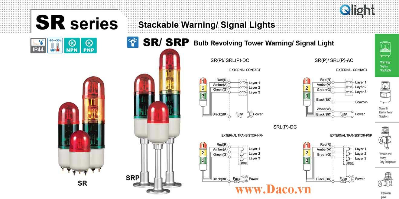 SRLP-BZ-1-12-R Đèn tháp tròn nhấp nháy Qlight 1 tầng Tròn Φ83 LED 12VDC IP44