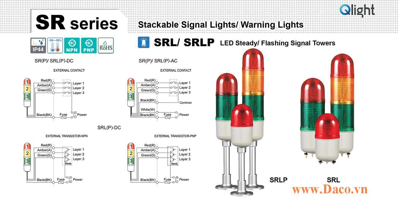 SRLP-BZ-3-12-RAG Đèn tháp tròn nhấp nháy Qlight 3 tầng Tròn Φ83 LED 12VDC IP44