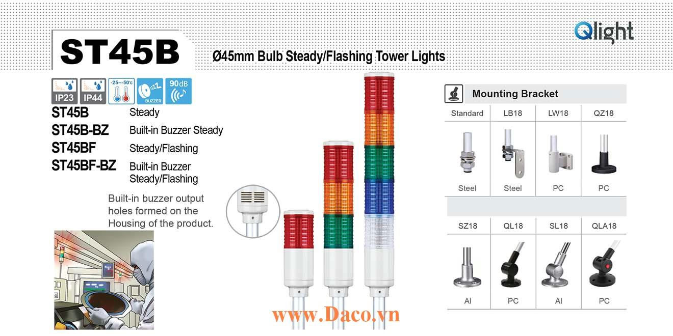ST45BF-BZ-5-220-RAGBW Đèn tháp Qlight Φ45 Bóng Sợi đốt 5 tầng  Buzzer 90dB IP23