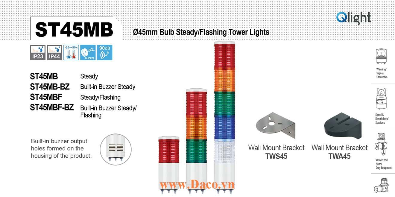 ST45MBF-BZ-5-12-RAGBW Đèn tháp Qlight Φ45 Bóng Sợi đốt 5 tầng  Buzzer 90dB IP23