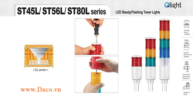 ST80EL-R-A-G-B-W Module tầng màu đèn tháp Φ80 ST80EL Qlight