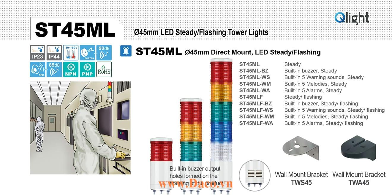 ST45MLF-BZ-5-220-RAGBW Đèn tháp Qlight Φ45 Bóng LED 5 tầng Còi Buzzer 90dB IP23