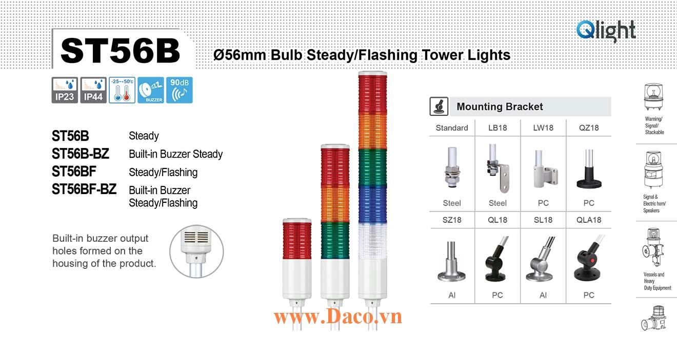 ST56BF-WA-5-220-RAGBW Đèn tháp Qlight Φ56 Bóng Sợi đốt 5 tầng  5 âm báo 85dB IP23