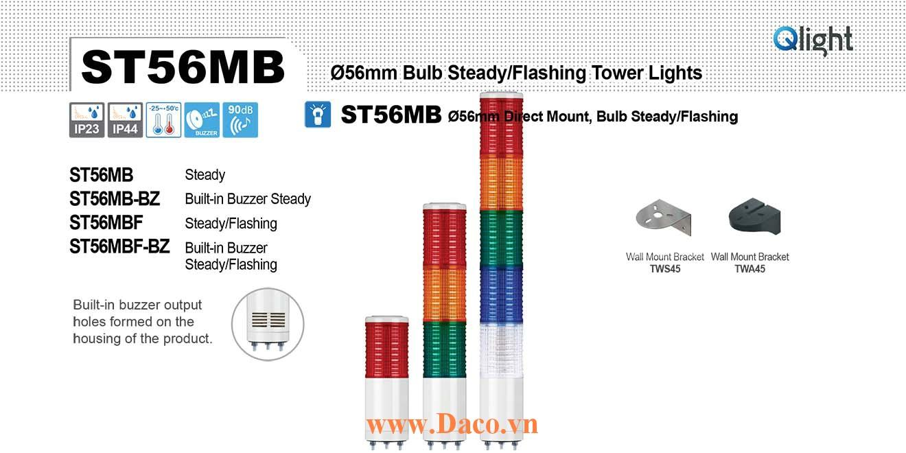 ST56MBF-BZ-5-12-RAGBW Đèn tháp Qlight Φ56 Bóng Sợi đốt 5 tầng  Buzzer 90dB IP23