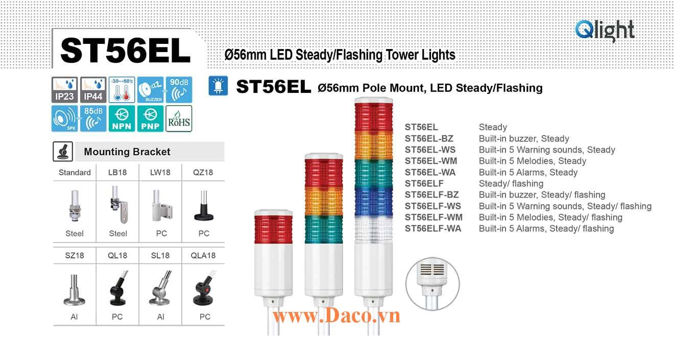 ST56ELF-BZ-5-220-RAGBW Đèn tháp Qlight Φ56 Bóng LED 5 tầng Còi Buzzer 90dB IP23