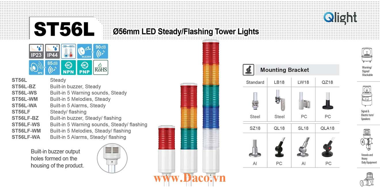 ST56LF-BZ-5-220-RAGBW Đèn tháp Qlight Φ56 Bóng LED 5 tầng Còi Buzzer 90dB IP23