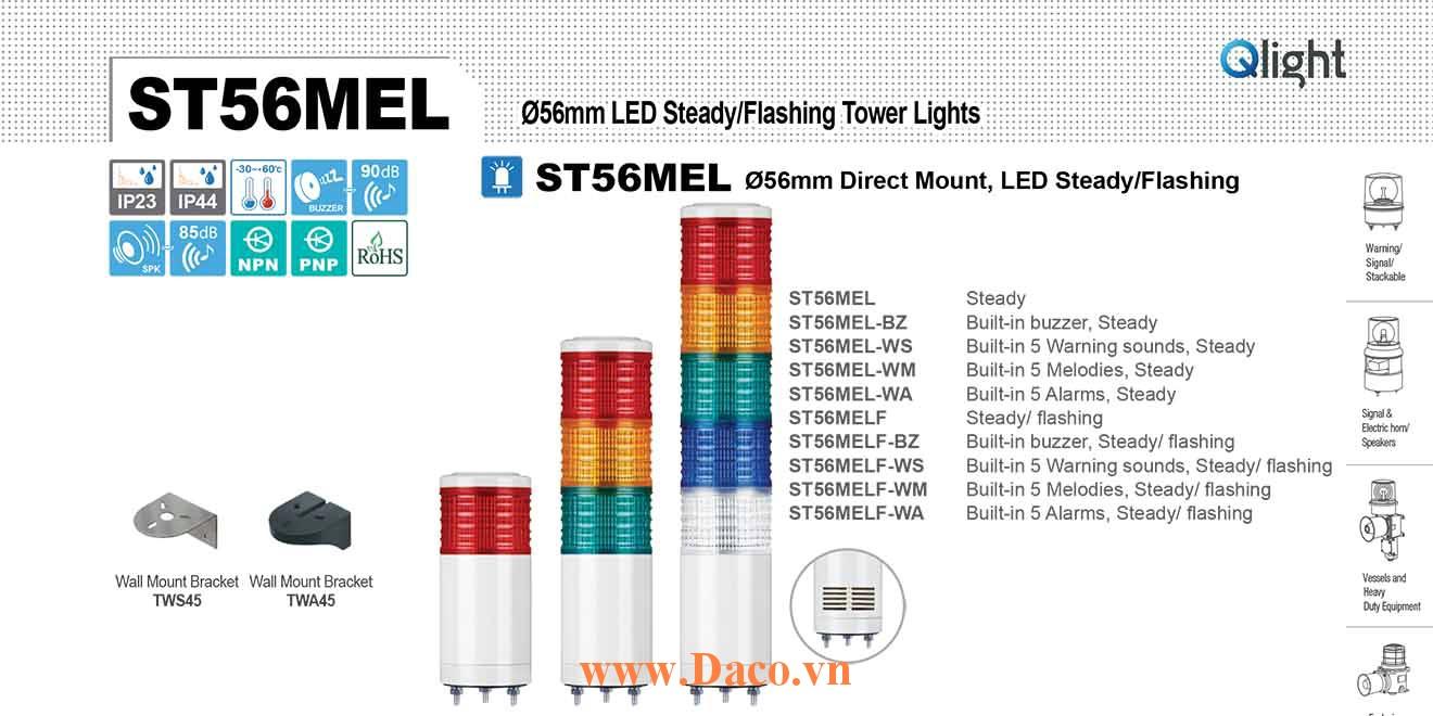 ST56MELF-BZ-5-220-RAGBW Đèn tháp Qlight Φ56 Bóng LED 5 tầng Còi Buzzer 90dB IP23