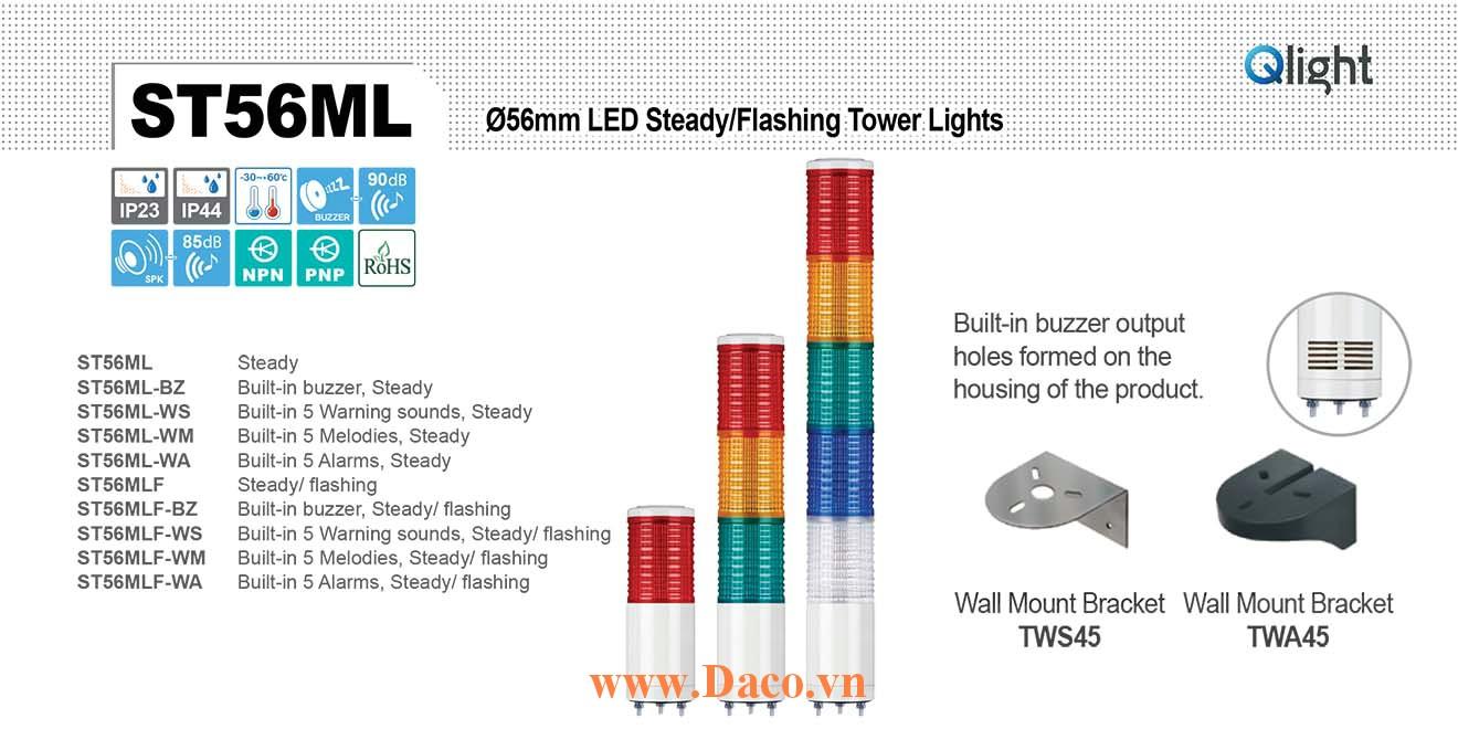 ST56MLF-BZ-5-220-RAGBW Đèn tháp Qlight Φ56 Bóng LED 5 tầng Còi Buzzer 90dB IP23