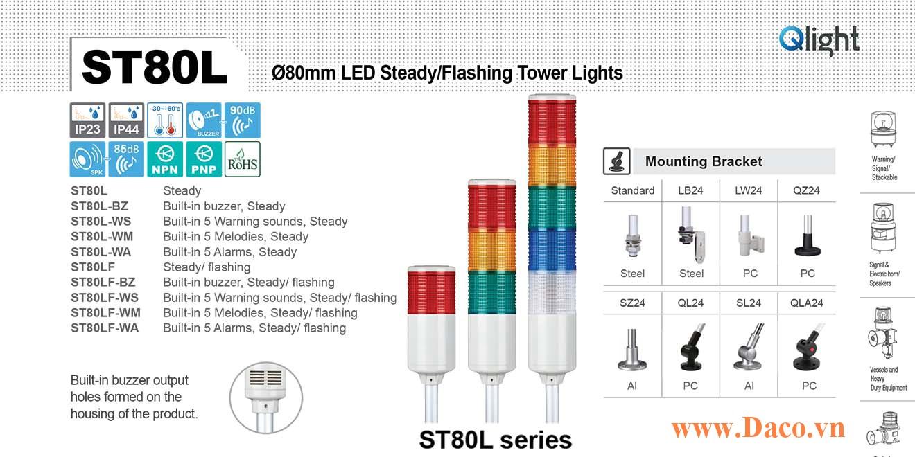 ST80LF-BZ-5-220-RAGBW Đèn tháp Qlight Φ80 Bóng LED 5 tầng Còi Buzzer 90dB IP23