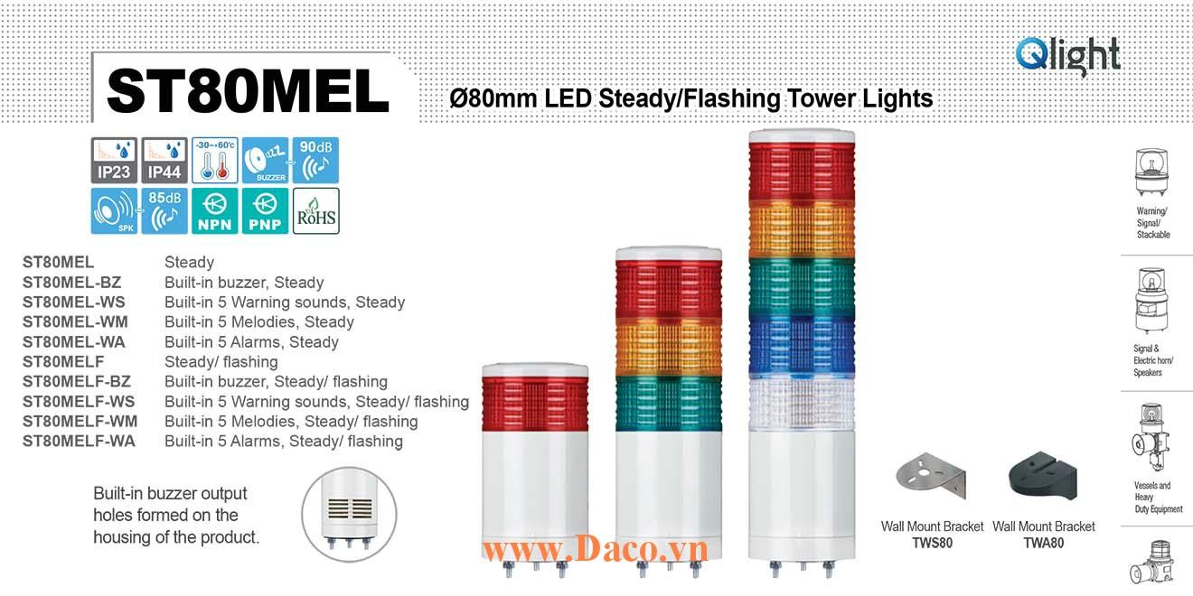 ST80MELF-BZ-5-220-RAGBW Đèn tháp báo hiệu Qlight thân ngắn Φ80 Bóng LED 5 tầng Còi Buzzer 90dB IP23
