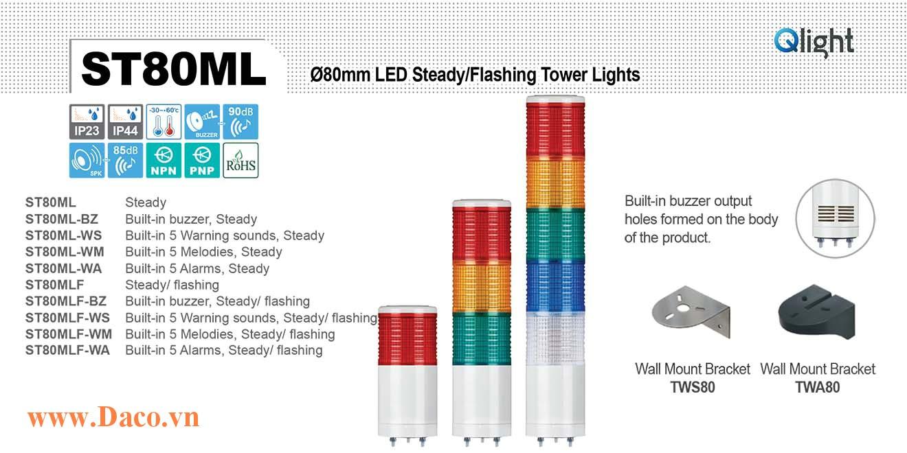 ST80MLF-BZ-5-220-RAGBW Đèn tháp báo hiệu Qlight Φ80 Bóng LED 5 tầng Còi Buzzer 90dB IP23