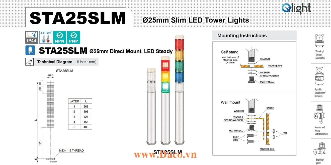 STA25SLM-5-220-RAGBW Đèn tháp Qlight Φ25 Bóng LED 5 tầng IP44