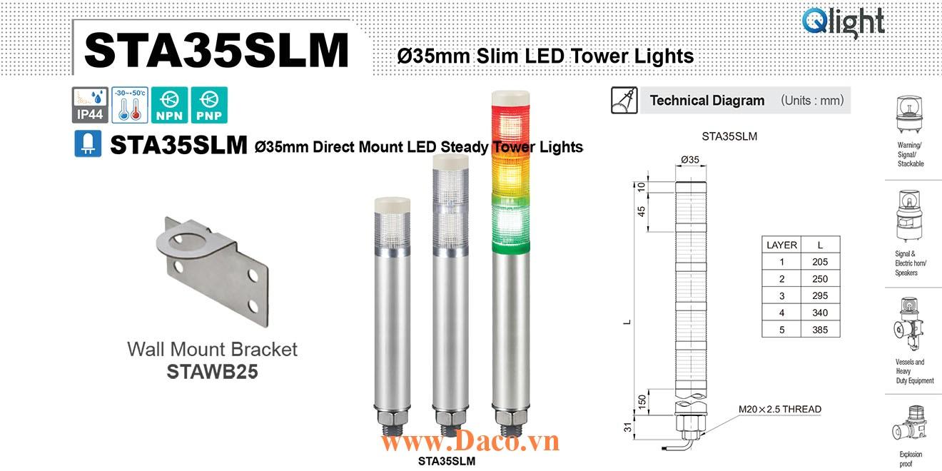 STA35SLM-5-220-RAGBW Đèn tháp báo hiệu Qlight Φ35 Bóng LED 5 tầng IP44