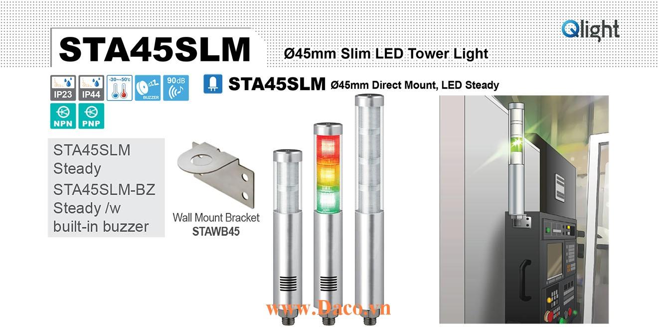 STA45SLM-BZ-5-220-RAGBW Đèn tháp Qlight Φ45 Bóng LED 5 tầng Còi Buzzer 90dB IP23