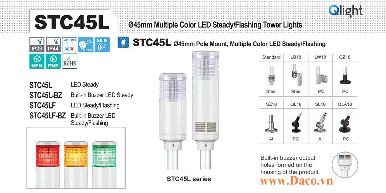 STC45LF-BZ-3-110-RAG Đèn báo hiệu tháp Qlight Φ45 Bóng LED 3 Màu Còi Buzzer 90dB IP23