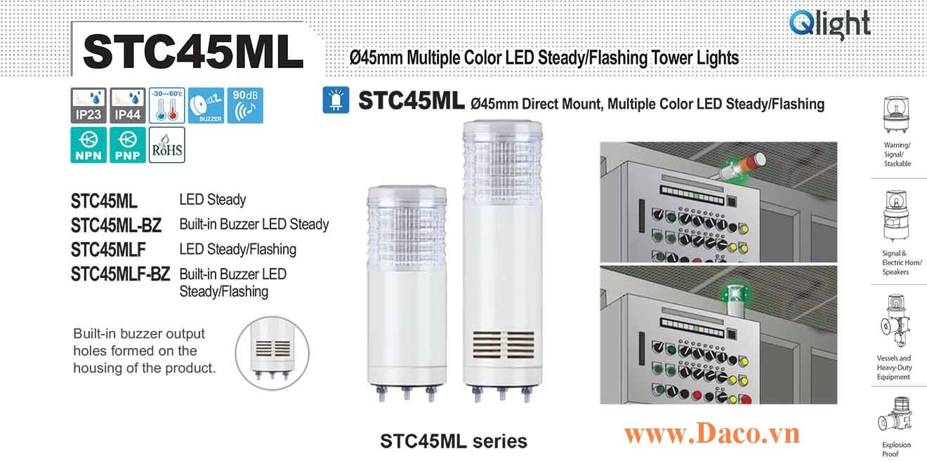 STC45MLF-BZ-3-110-RAG Đèn báo hiệu tháp Qlight Φ45 Bóng LED 3 Màu Còi Buzzer 90dB IP23