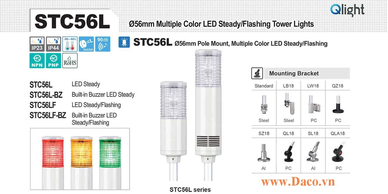 STC56LF-BZ-3-110-RAG Đèn báo hiệu tháp Qlight Φ56 Bóng LED 3 Màu Còi Buzzer 90dB IP23