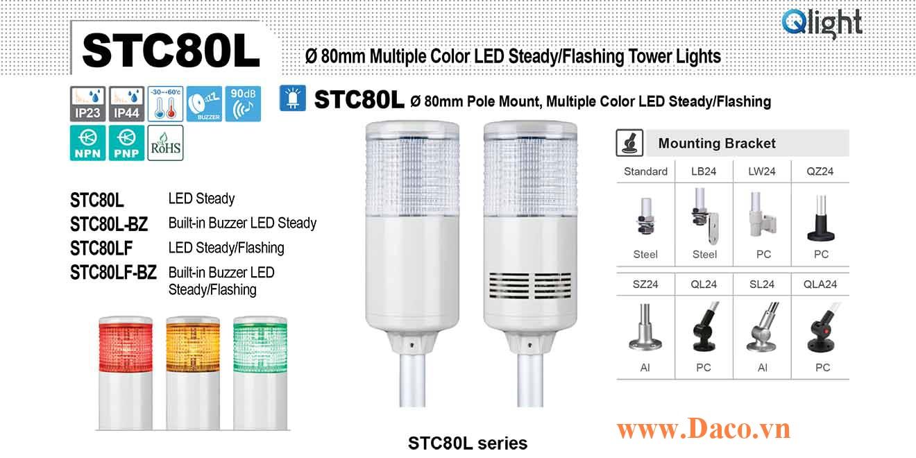 STC80LF-BZ-3-110-RAG Đèn báo hiệu tháp Qlight Φ80 Bóng LED 3 Màu Còi Buzzer 90dB IP23
