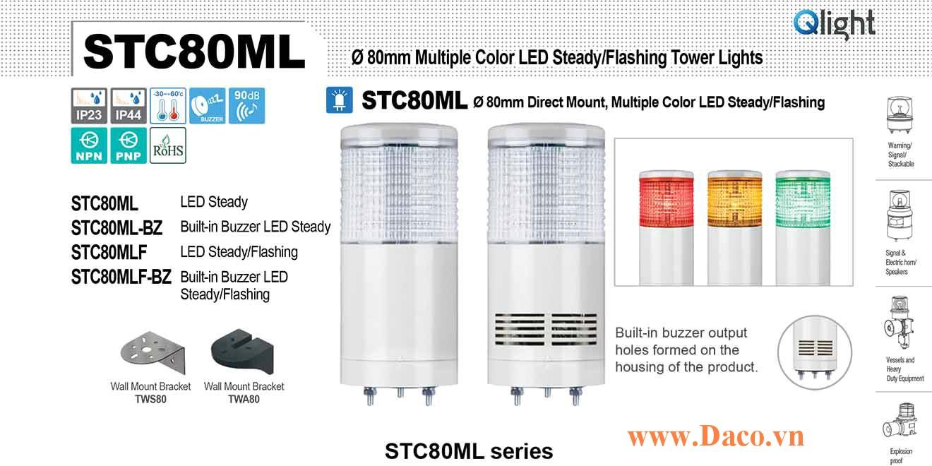 STC80MLF-BZ-3-110-RAG Đèn báo hiệu tháp Qlight Φ80 Bóng LED 3 Màu Còi Buzzer 90dB IP23
