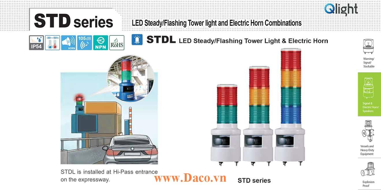 STDL-WS-5-220-RAGBW Đèn tháp có loa Qlight Φ80 Bóng LED 5 tầng Còi 5 âm báo động 105dB IP54