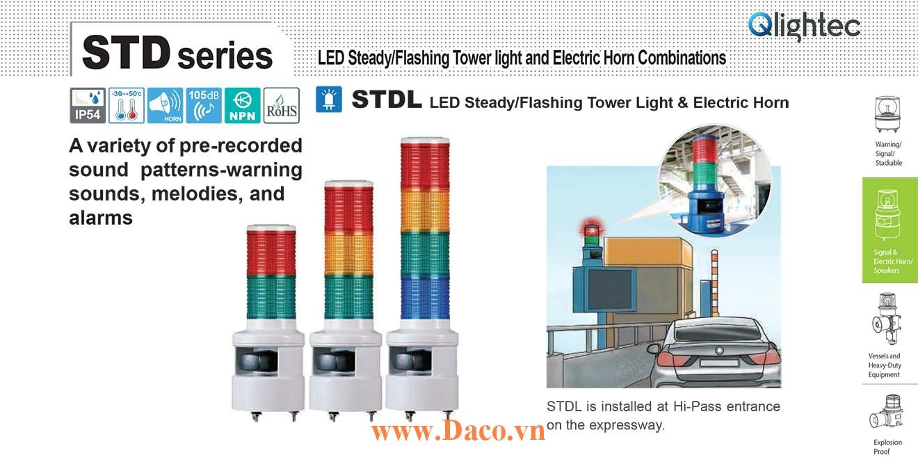 STD56LF-5 Đèn tháp có loa Qlight Φ56 Bóng LED 5 tầng Nhấp nháy Còi 5 âm báo 105dB IP54
