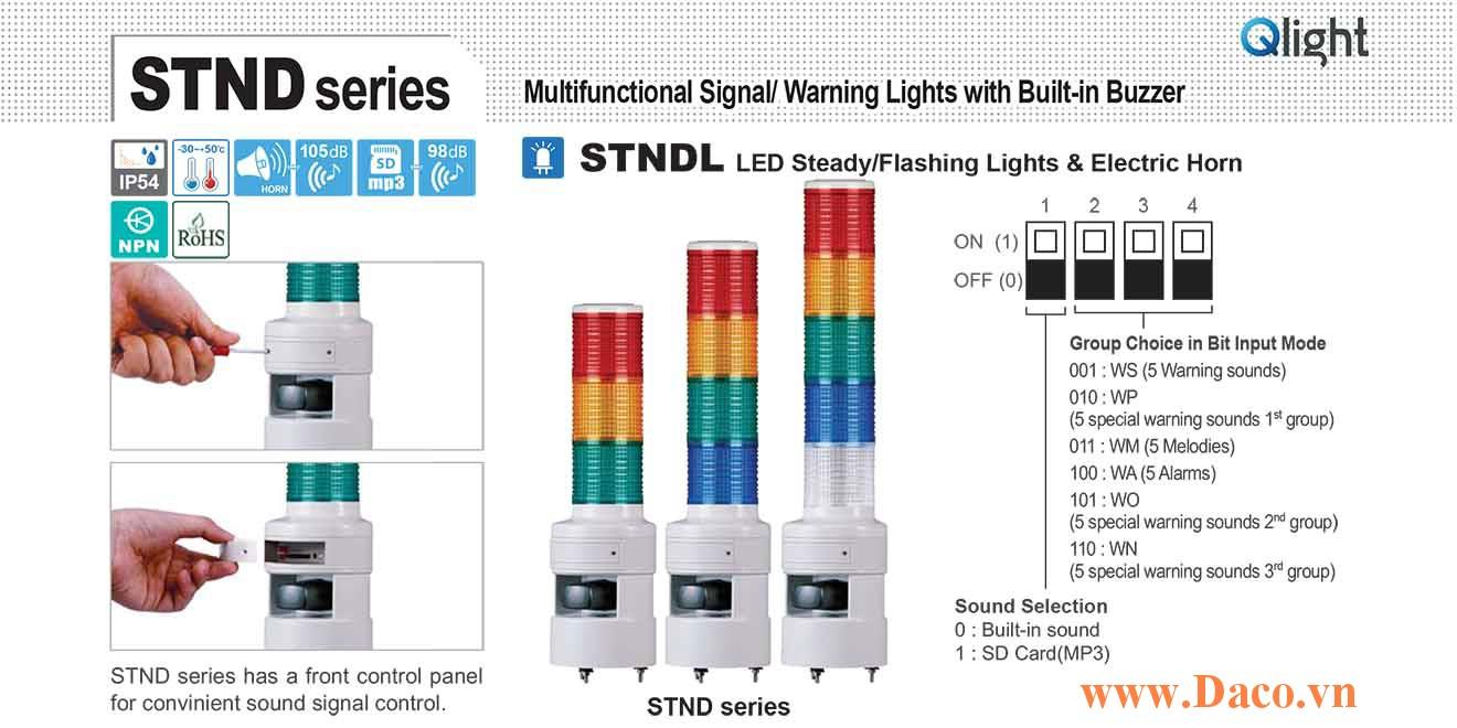 STNDLF-5-220-RAGBW Đèn tháp 30 kênh ghi âm MP3 Qlight Φ80 Bóng LED 5 tầng, Nhấp nháy IP54