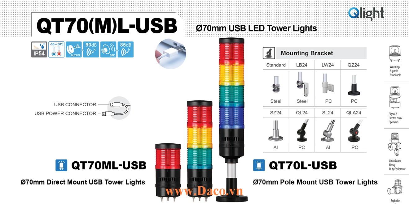 QT70L-USB-BZ-5-RAGBW Đèn tầng USB Qlight Φ70 Bóng LED 5 tầng Còi 5 âm Buzzer 90dB IP54