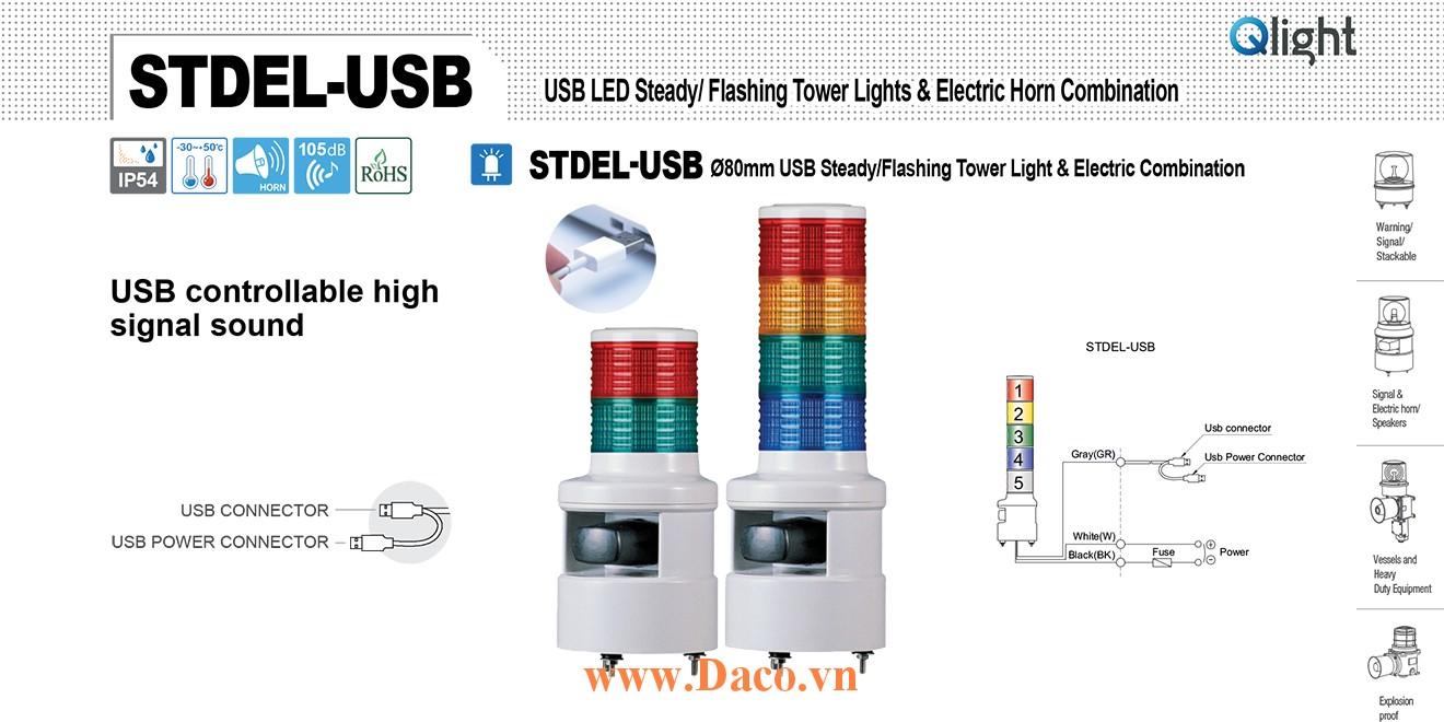 STDEL-USB-WS-5-220-RAGBW Đèn tầng USB Qlight Φ80 Bóng LED 5 tầng Còi 5 âm báo 105dB IP54
