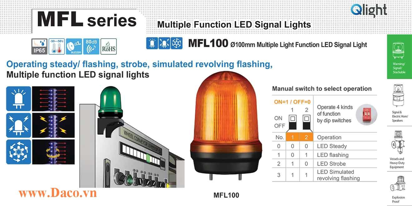 MFL100-BZ-110/220-B Đèn báo hiệu đa chức năng Qlight Φ100 Bóng LED 100VAC~240VAC IP44