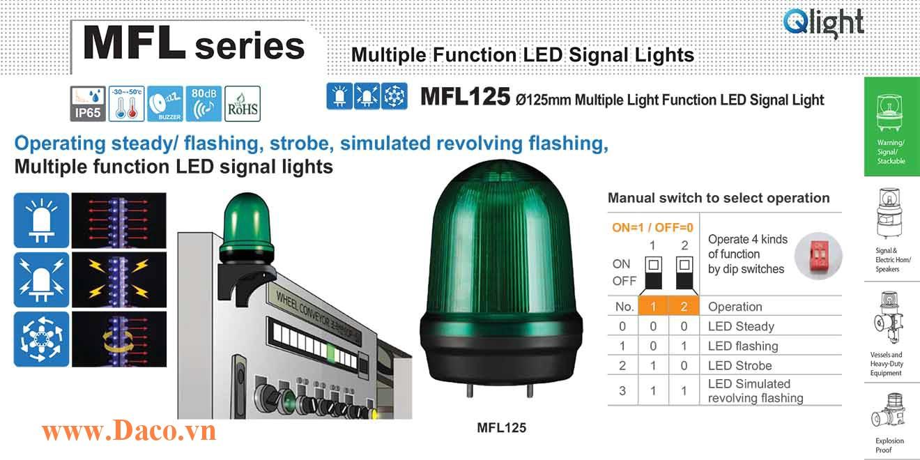 MFL125-BZ-110/220-G Đèn báo hiệu đa chức năng Qlight Φ125 Bóng LED 100VAC~240VAC IP44