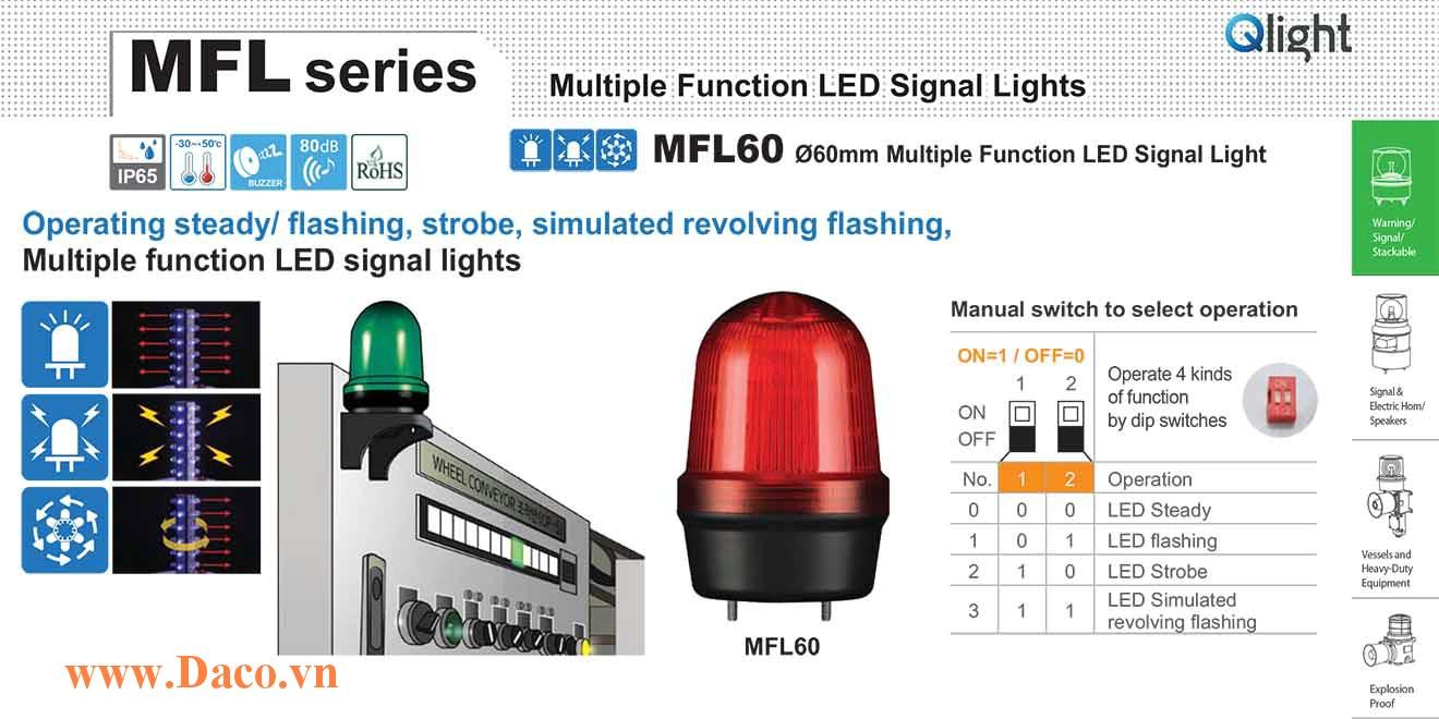 MFL60-BZ-110/220-B Đèn báo hiệu đa chức năng Qlight Φ60 Bóng LED 100VAC~240VAC IP44