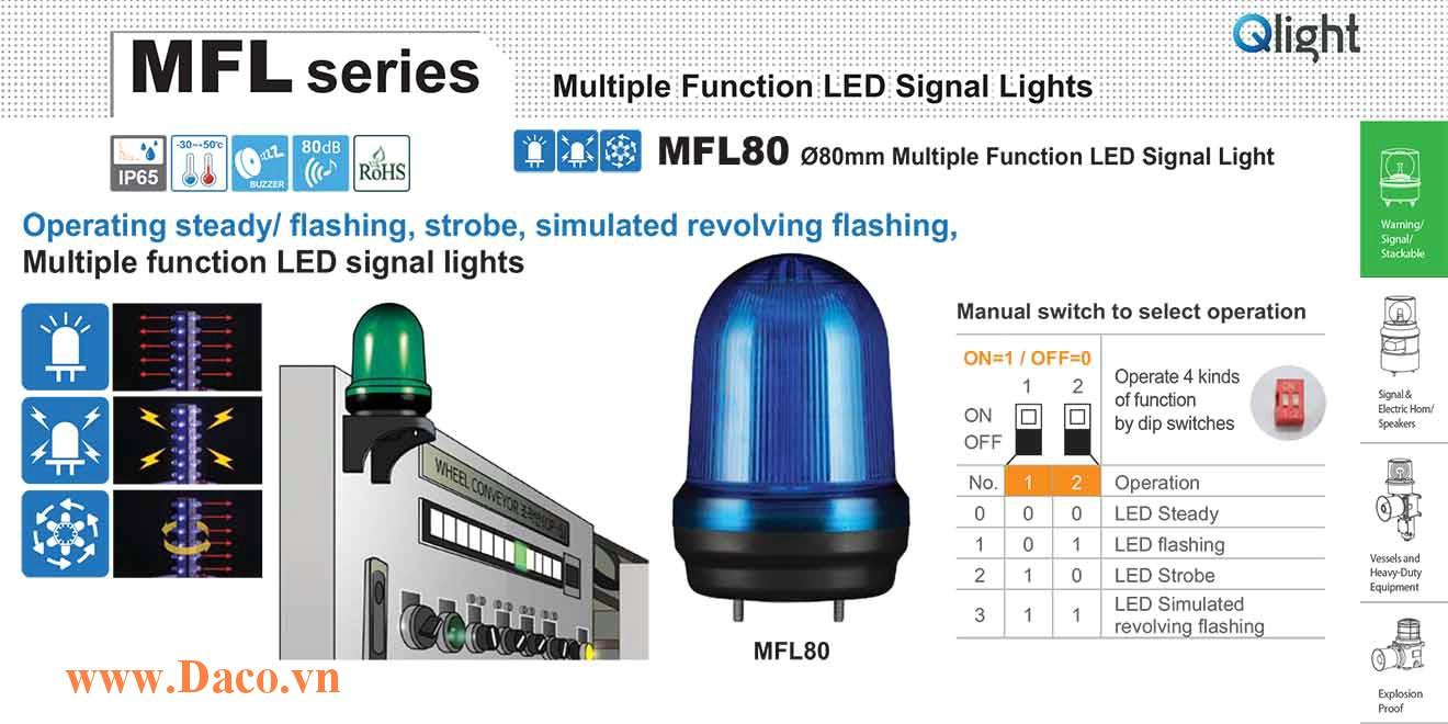MFL80-BZ-110/220-B Đèn báo hiệu đa chức năng Qlight Φ80 Bóng LED 100VAC~240VAC IP44