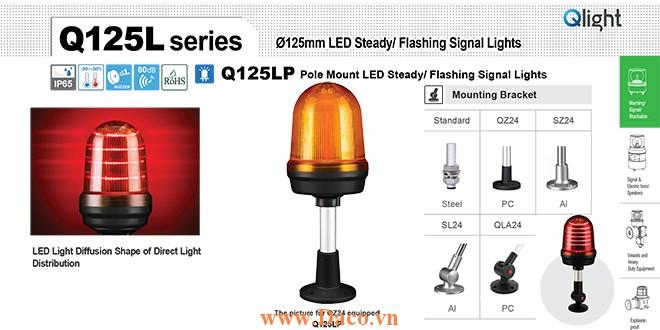 Q125LP-BZ-110/220-R-QLA24 Đèn cảnh báo Qlight Φ125 Bóng LED 110VAC~220VAC IP65