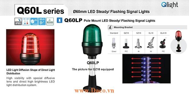 Q60LP-BZ-110/220-R-QLA18 Đèn cảnh báo Qlight Φ60 Bóng LED 110VAC~220VAC IP65