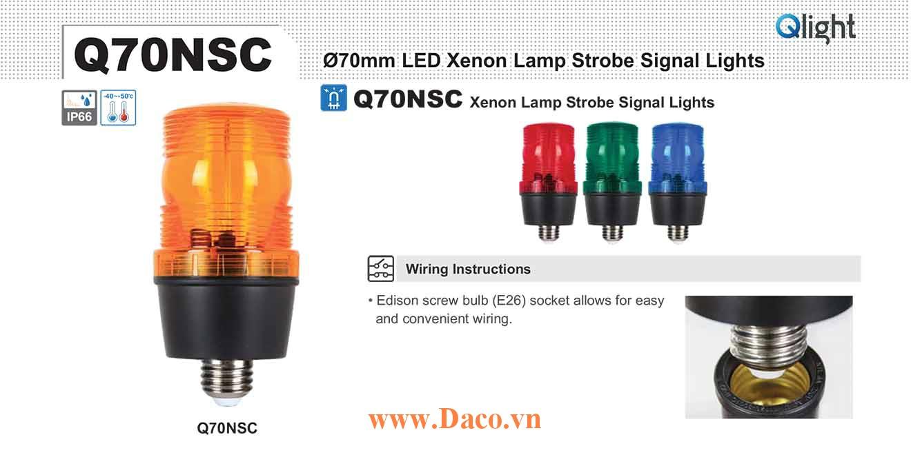Q70NSC-110-R Đèn báo hiệu chớp nháy Qlight Φ70 Bóng Xenon 110VAC IP66