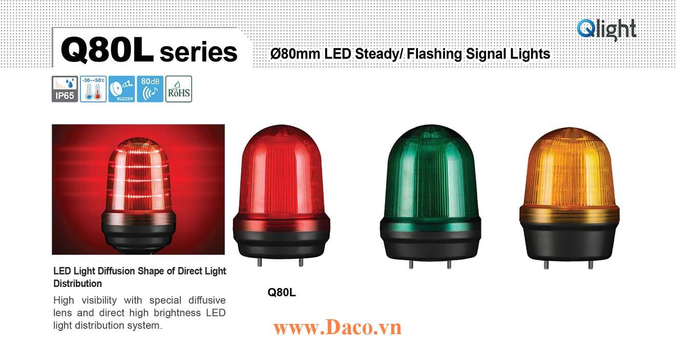 Q80L-BZ-110/220-A Đèn cảnh báo Qlight Φ80 Bóng LED 110VAC~220VAC IP44