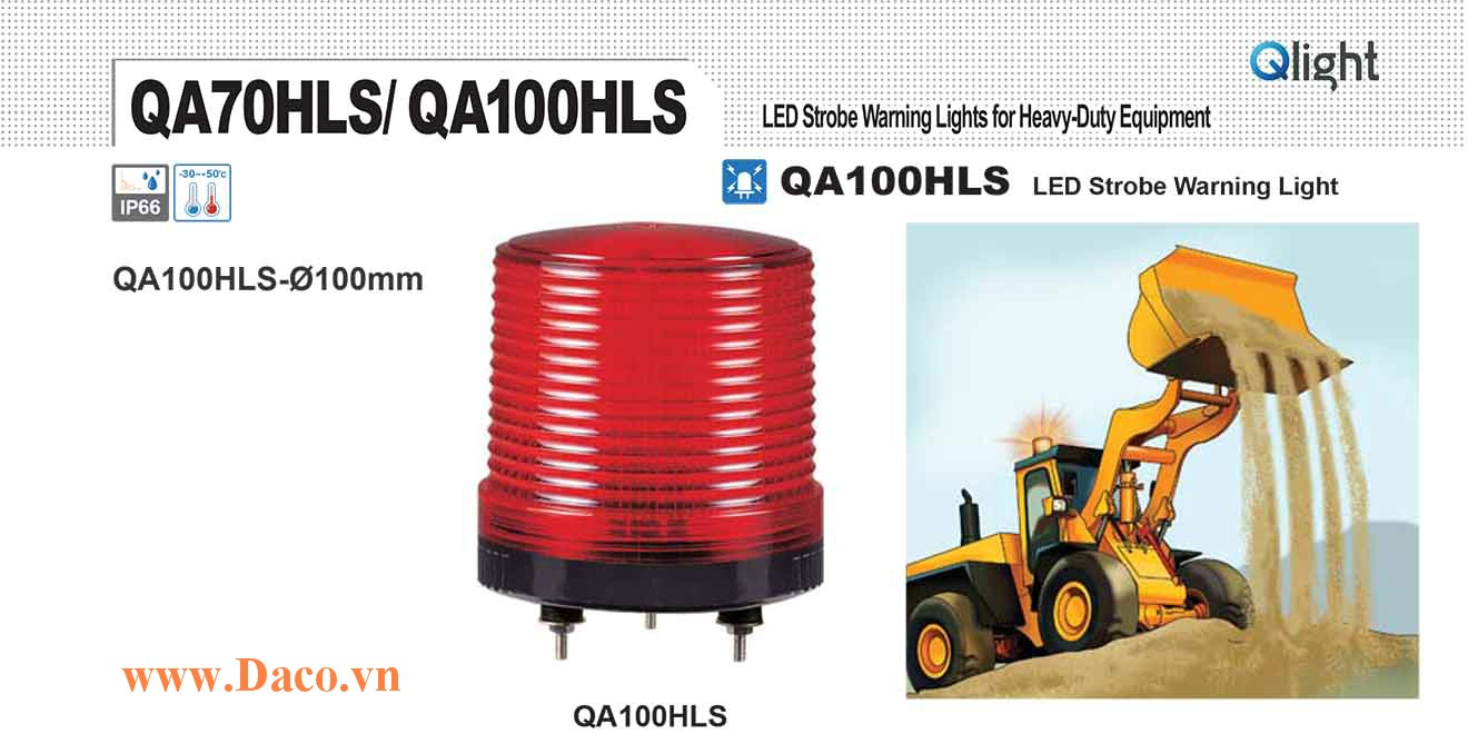 QA100HLS-12/24-A Đèn báo hiệu xe công trình Qlight Φ100 Bóng LED 12VDC~24VDC IP66