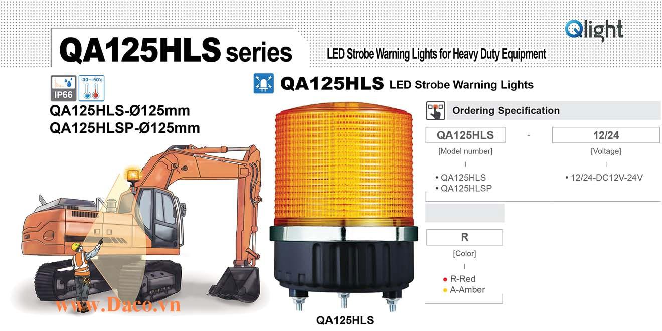 QA140DLSP-12/24-R Đèn báo hiệu xe công trình siêu sáng Qlight Φ140 Bóng LED 12VDC~24VDC IP66
