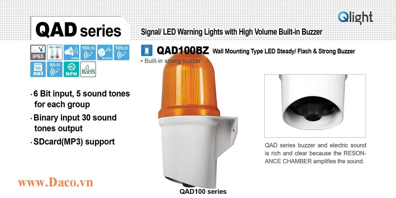 QAD100BZ-110/220-R Đèn báo hiệu Qlight gắn tường Còi Buzzer 105dB IP65, 110VAC/220VAC