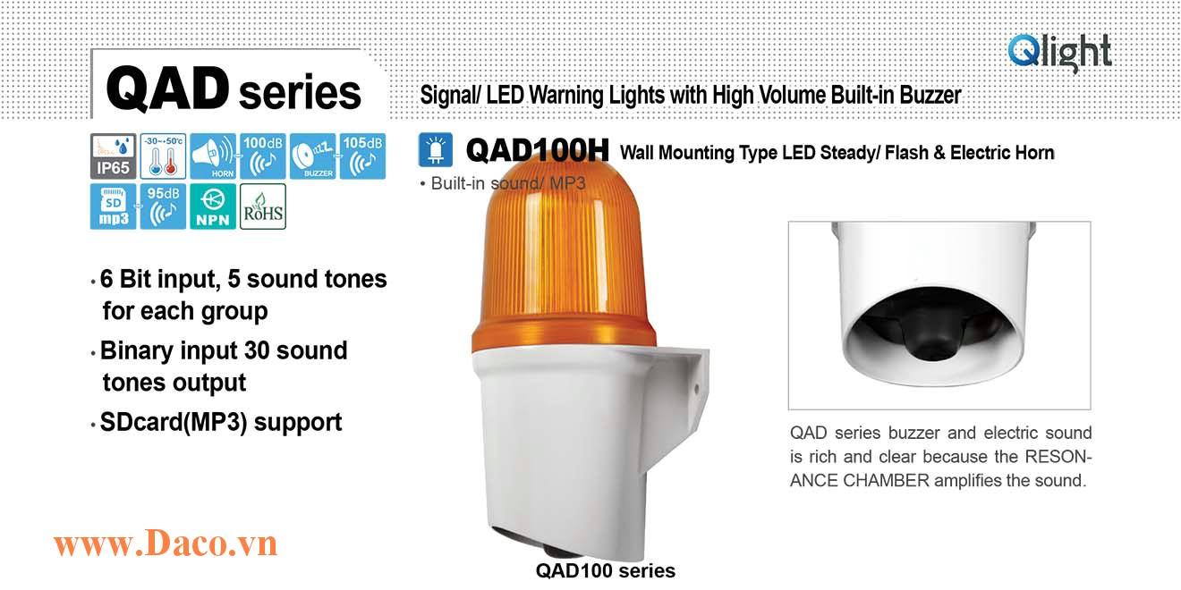 QAD100H-110/220-A Đèn báo hiệu Qlight gắn tường 30 âm báo 100dB ghi sẵn/SD Card MP3 IP65, 110VAC/220VAC