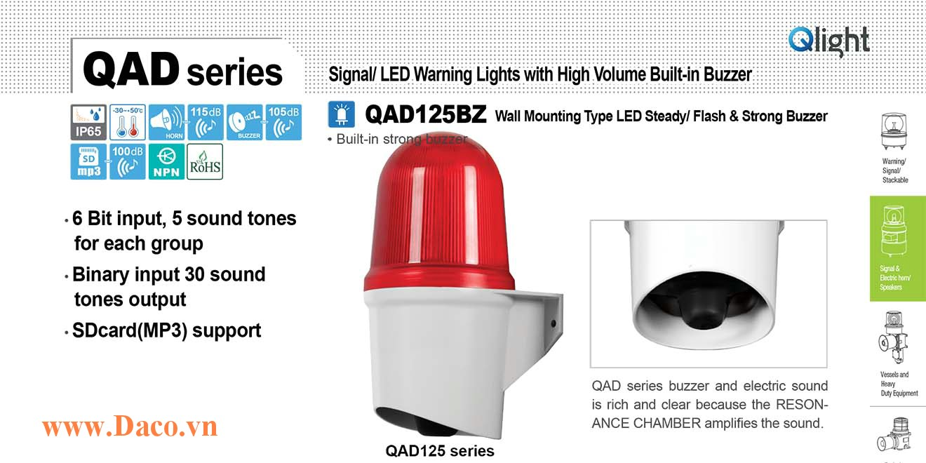 QAD125BZ-110/220-G Đèn báo hiệu Qlight gắn tường Còi Buzzer 105dB IP65, 110VAC/220VAC