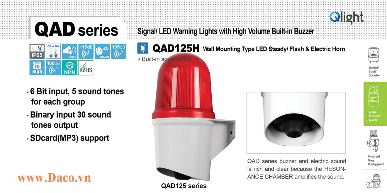 QAD125H-110/220-R Đèn báo hiệu Qlight gắn tường 30 âm báo 100dB ghi sẵn/SD Card MP3 IP65, 110VAC/220VAC