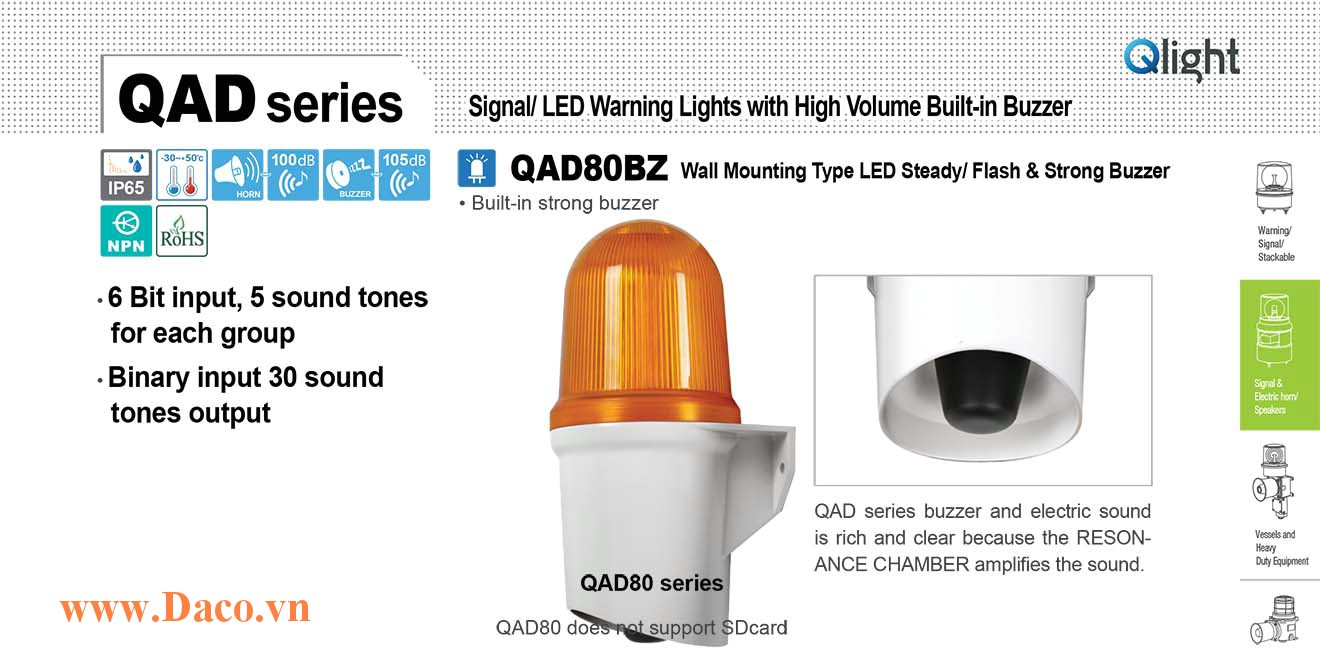 QAD80BZ-24-A Đèn báo hiệu Qlight gắn tường Còi Buzzer 105dB IP65, 24VDC