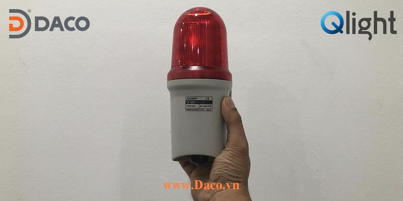QAD80 Hình ảnh thực tế Đèn cảnh báo tín hiệu có loa gắn tường Qlight Hàn Quốc Φ80