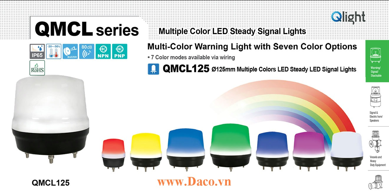 QMCL125-BZ-24 Đèn báo hiệu 7 màu Qlight Φ125 Bóng LED 24VDC IP65, CE