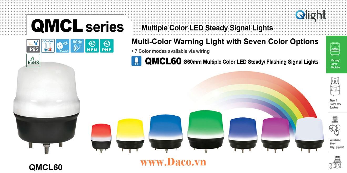 QMCL60-24 Đèn báo hiệu 7 màu Qlight Φ60 Bóng LED 24VDC IP65, CE