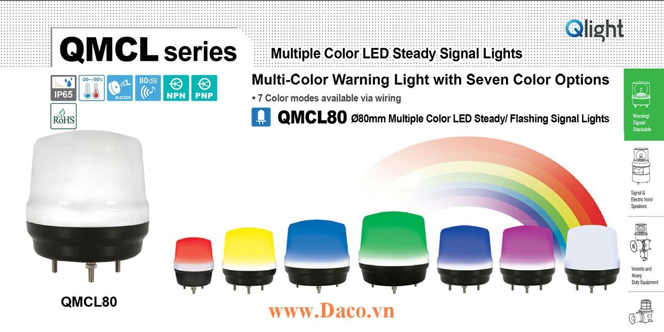 QMCL80-BZ-24 Đèn báo hiệu 7 màu Qlight Φ80 Bóng LED 24VDC IP65, CE