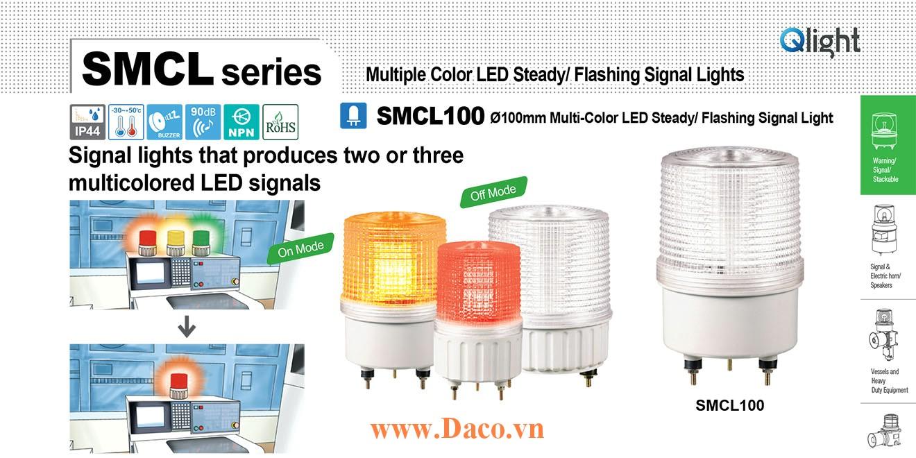 SMCL100-BZ-3-220-RAG Đèn báo hiệu 3 màu Qlight Φ100 Bóng LED Còi Buzzer 90dB 220 VAC IP44, CE