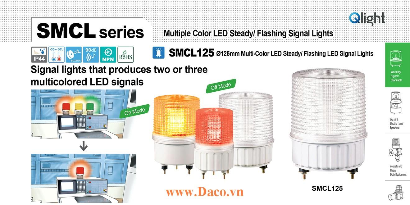 SMCL125-BZ-3-220-RAG Đèn báo hiệu 3 màu Qlight Φ125 Bóng LED Còi Buzzer 90dB 220 VAC IP44, CE